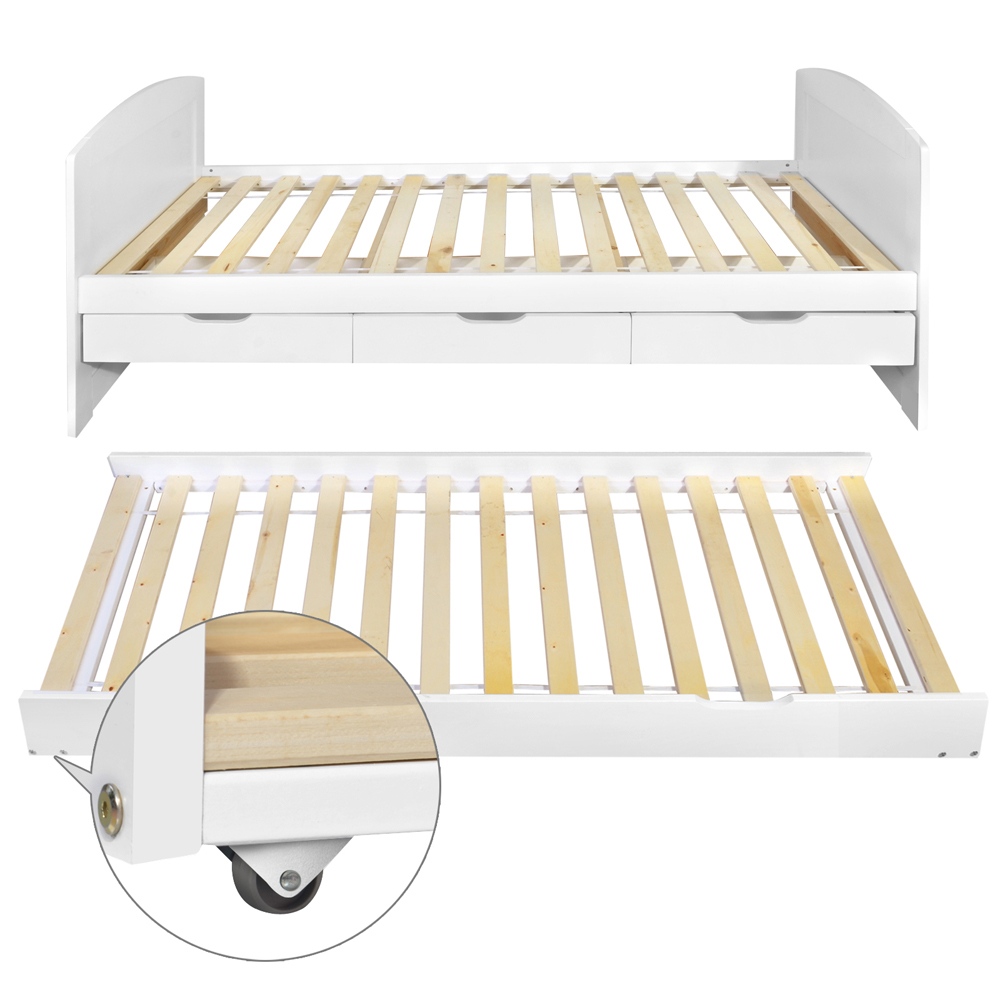 Wooden Single Bed Frame Pine Wood With Drawers Trundle Kids Adults Timber Slat Tennager Solid Emall