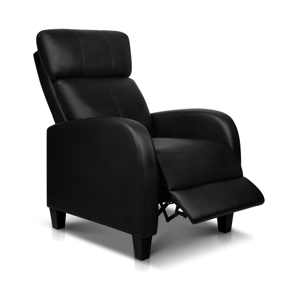 Black Leather Sofa Office: Faux Leather Armchair Recliner Chair Sofa Black Single New