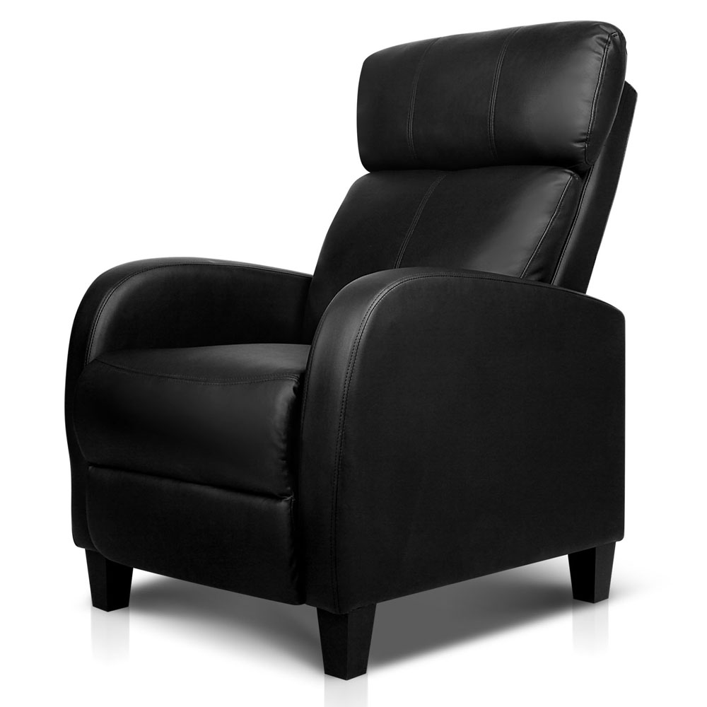 Faux Leather Armchair Recliner Chair Sofa Black Single New Home Office Lazy  Seat Lazyboy Style Recliner