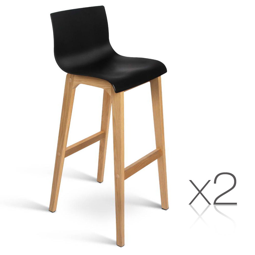 Bar Stool Chair With Wheels 2 Bar Stools Oak Wood Wooden