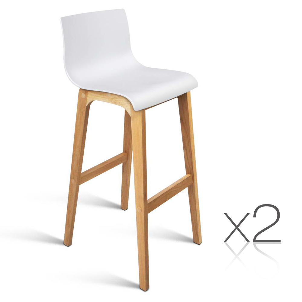 2 oak wood bar stools wooden dining kitchen chairs modern furniture