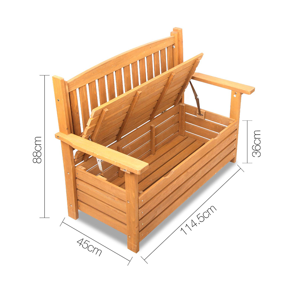 Wooden 2 seat storage box outdoor timber furniture garden for Timber outdoor furniture