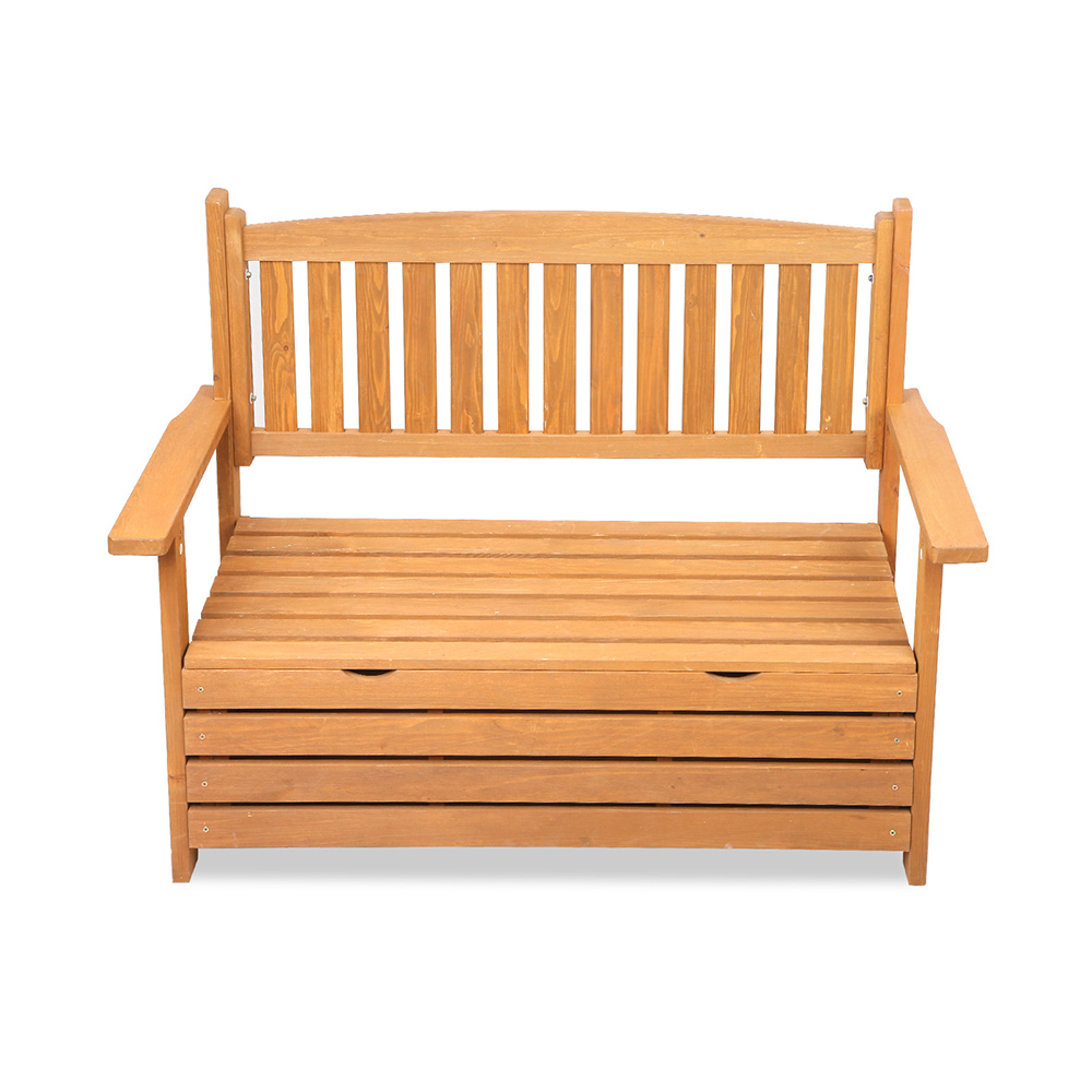 Wooden 2 seat storage box outdoor timber furniture garden for Outdoor furniture 2 seater