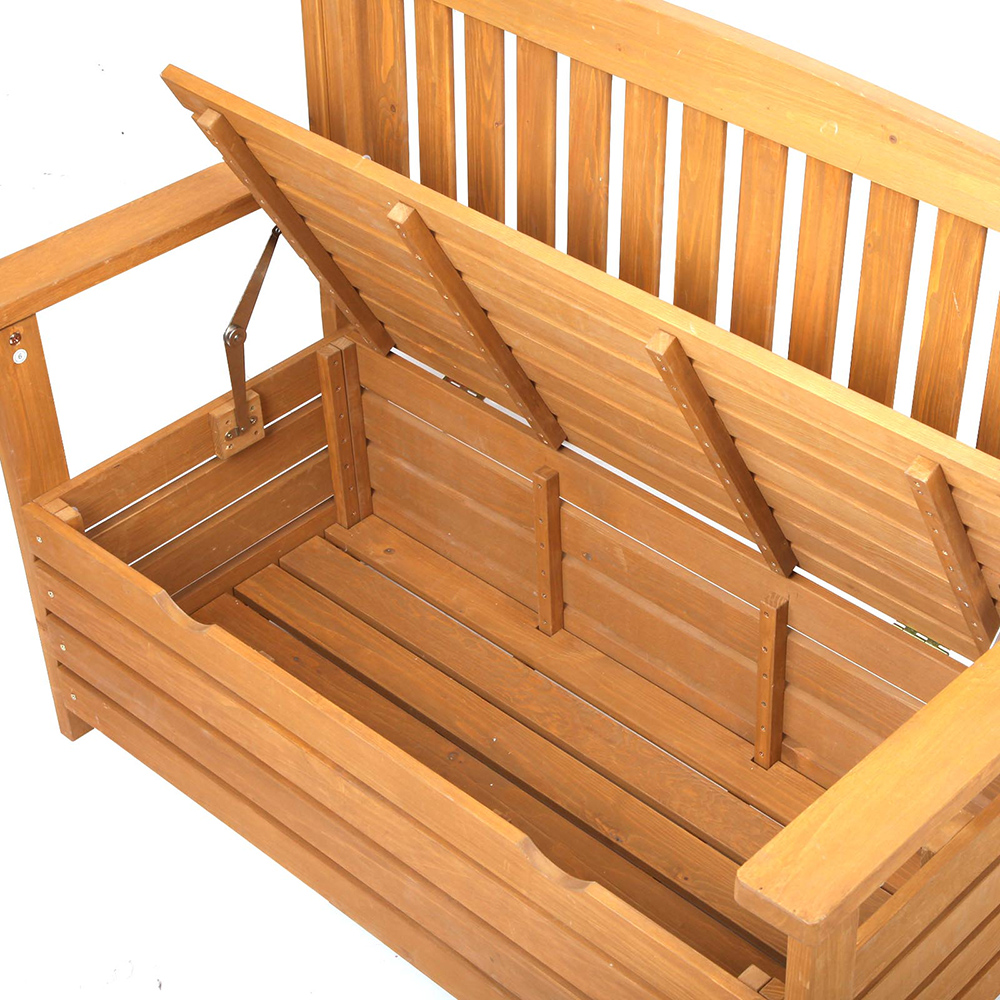 Solid Wood Bench Sofa Couch Storage Chest Furniture: Wooden 2 Seat Storage Box Outdoor Timber Furniture Garden