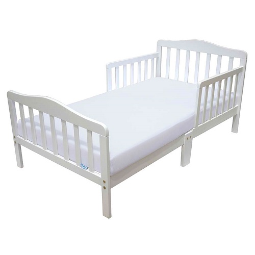 New toddler bed with safety rail guard white wooden frame for Kids white bed frame