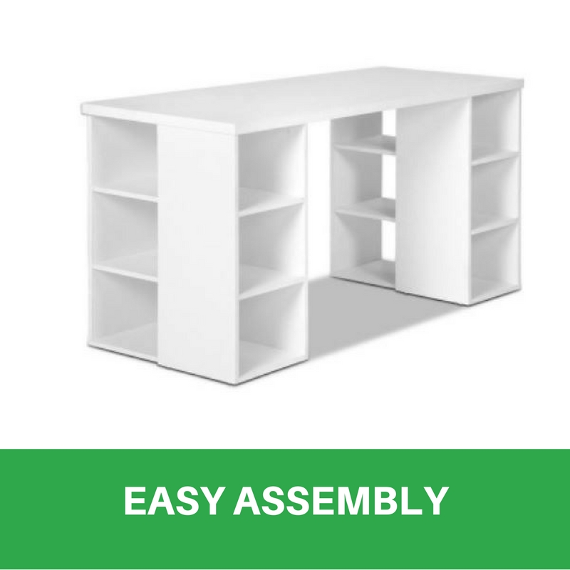 Bookcase Shelves Home Office Computer Desk Study Table 6 Storage Shelf White New Wooden
