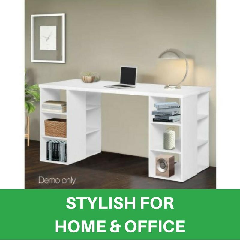 Bookcase Shelves Home Office Computer Desk Study Table 6 Storage Shelf White New Furniture