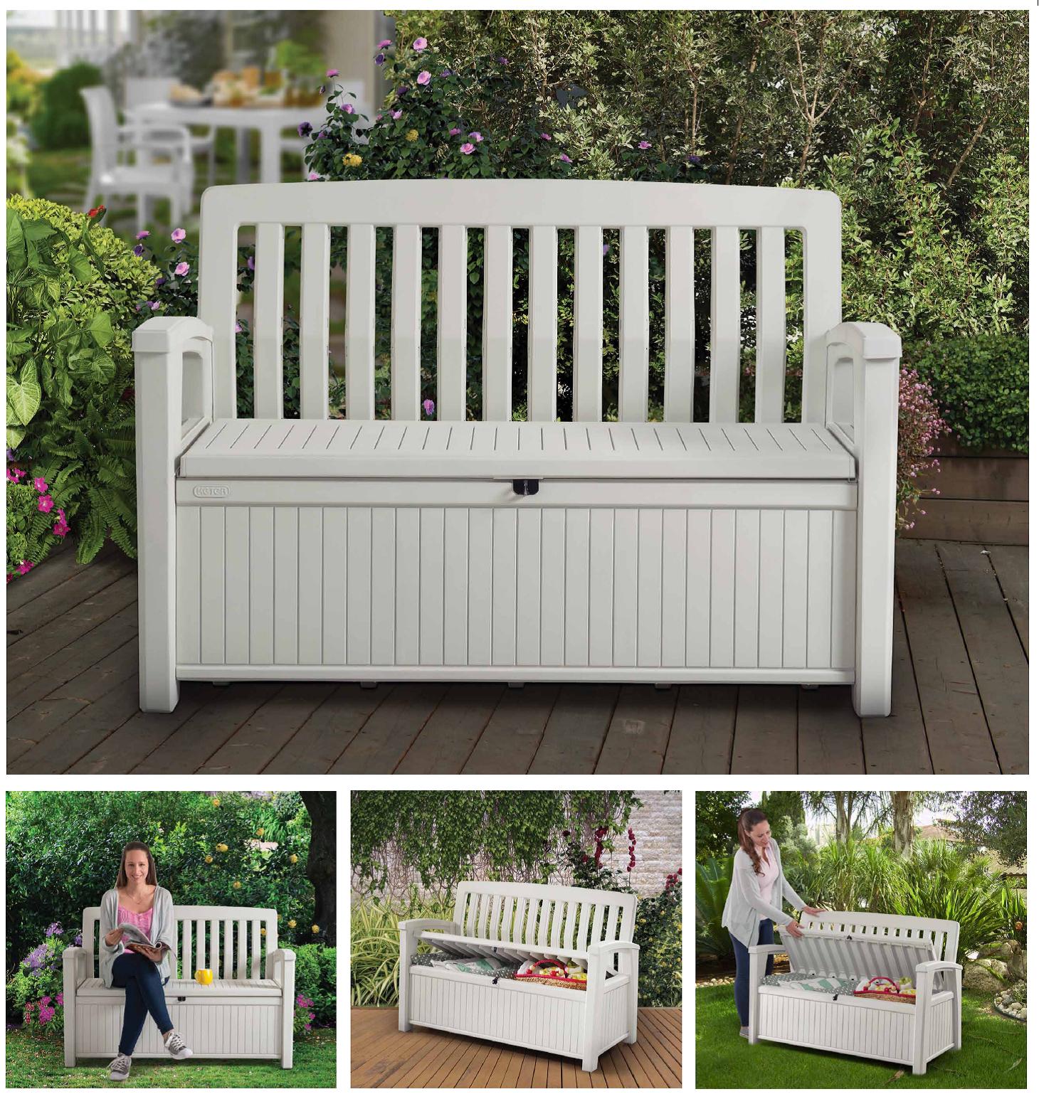 Patio Storage Bench Keter Outdoor Seat Garden Chair Box ...