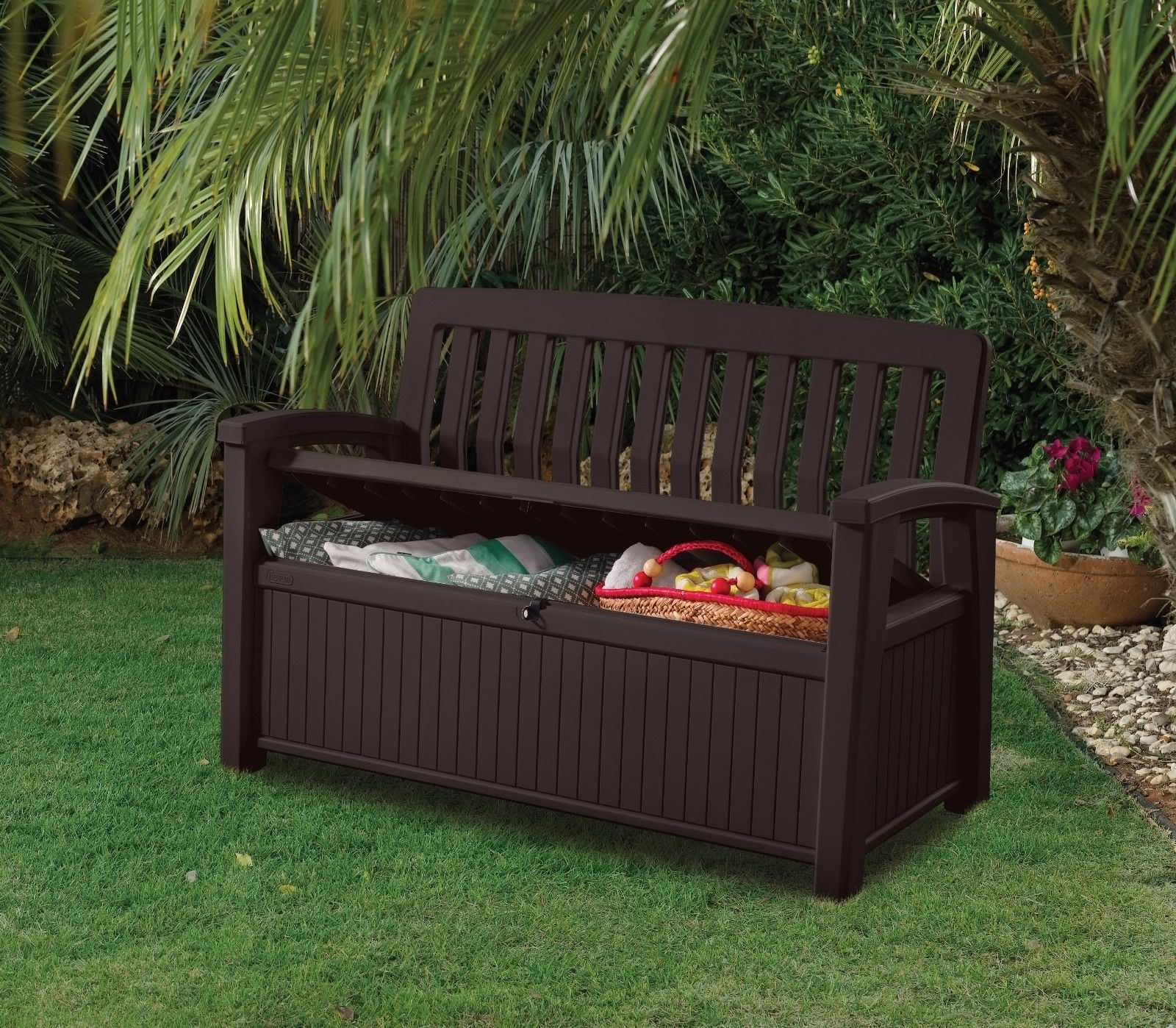 Patio storage bench keter outdoor seat garden chair box for Outdoor plastic bench seats