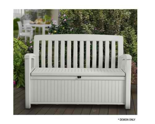 patio storage bench keter outdoor seat garden chair box lockable 3 colours new weather resistant
