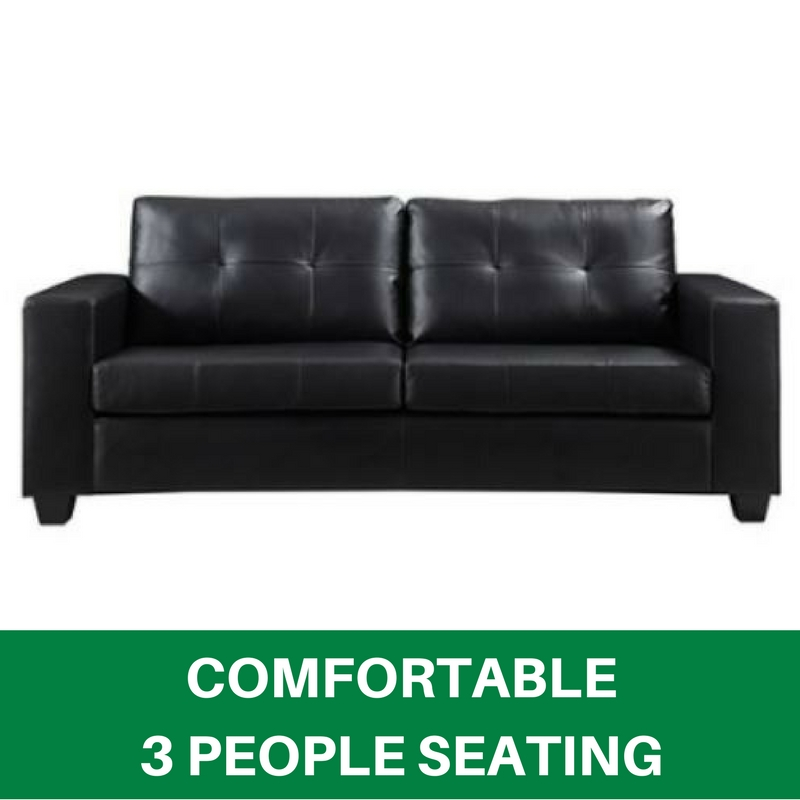 Pleasant Details About Black Faux Leather 3 Seater Sofa Solid Wood Structure Strong Plastic Leg Nikki Alphanode Cool Chair Designs And Ideas Alphanodeonline