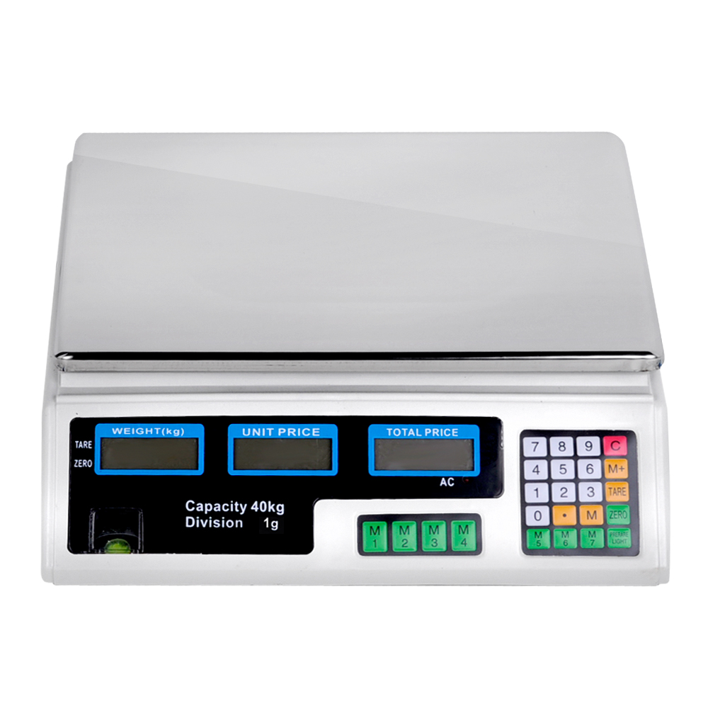Kitchen Electronic Computing Digital Scales Weight 40kgs White Business Food Lcd