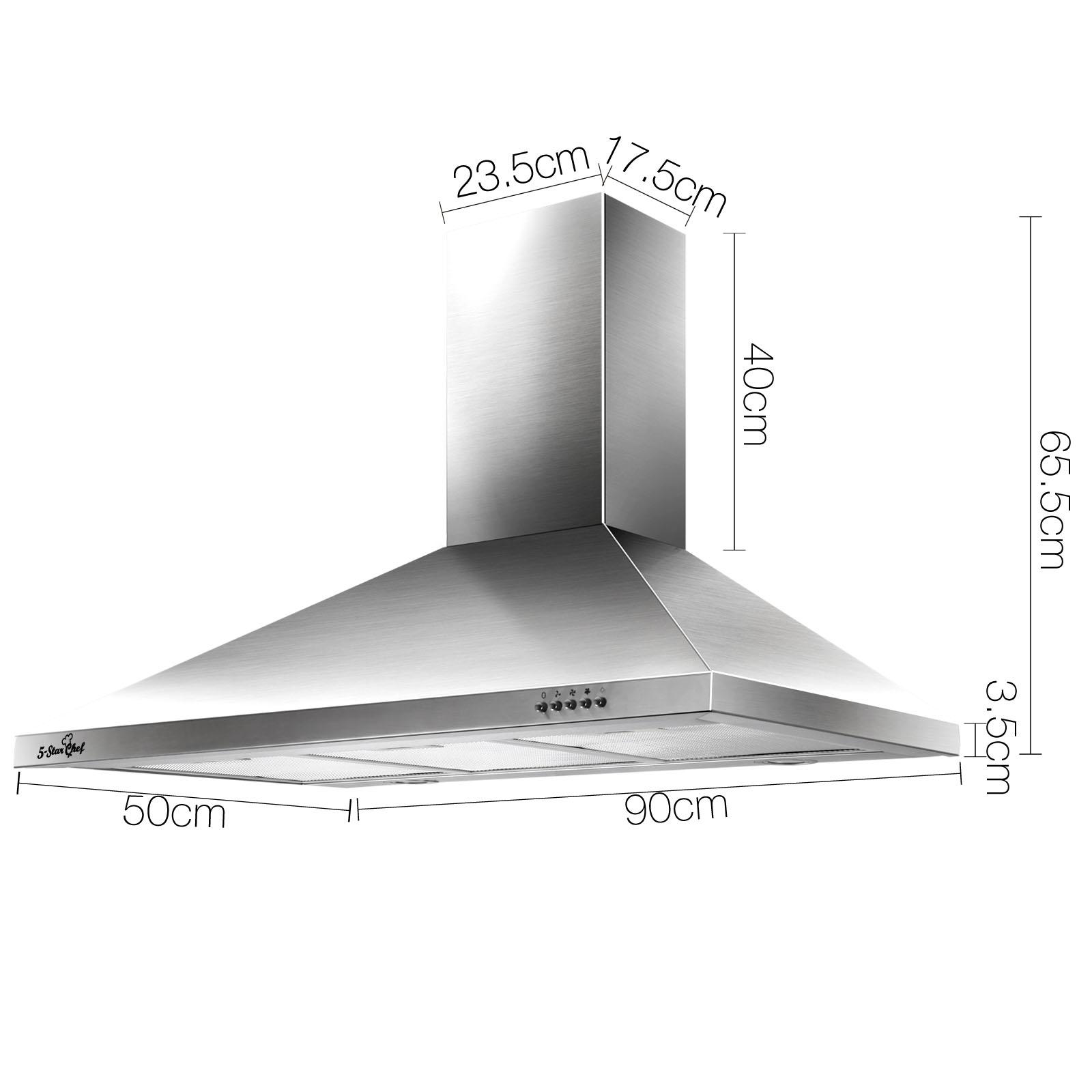Range Hood Wall Mount Stainless Steel 900mm 90cm Kitchen