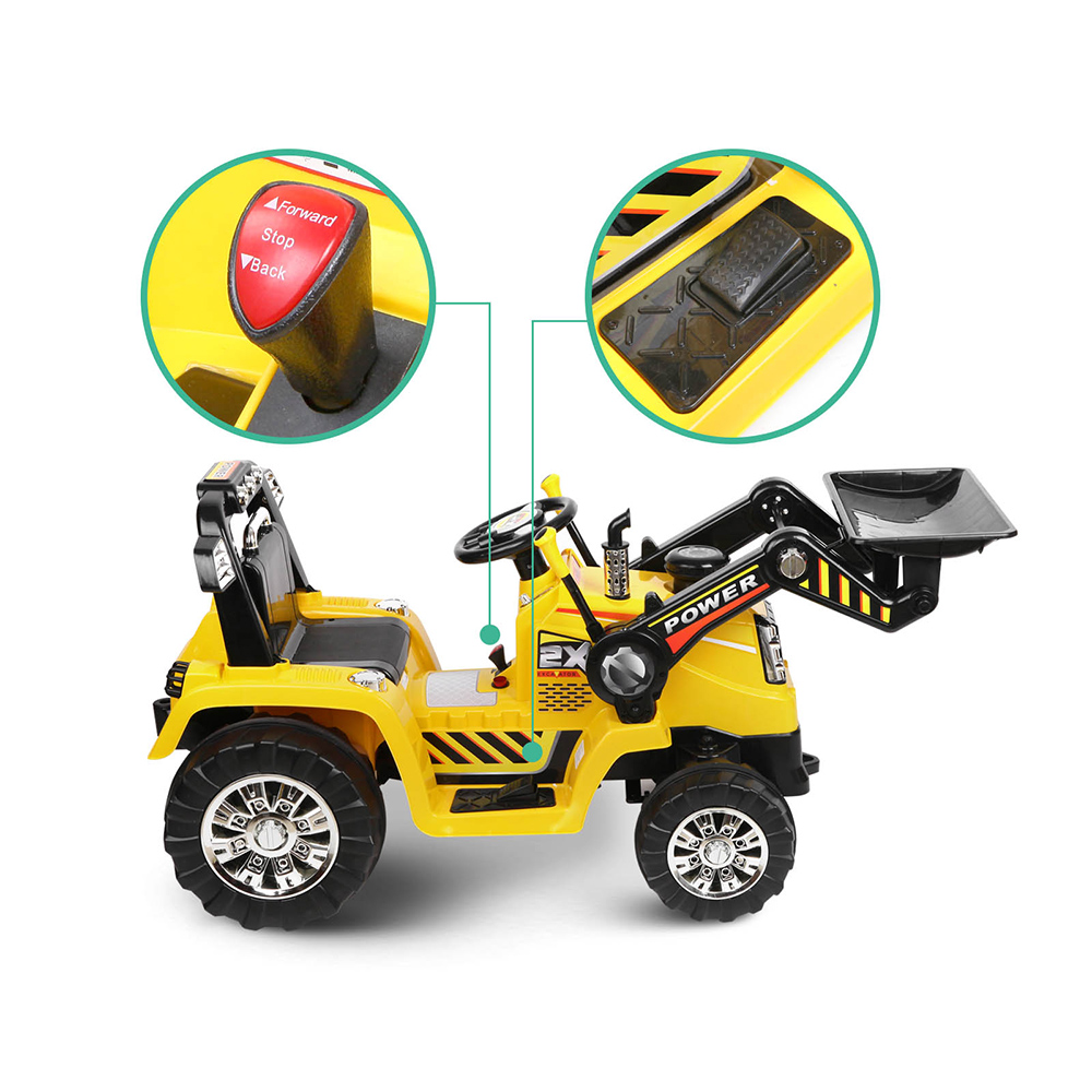 Kids ride on toy tractor bulldozer yellow electric with for Motorized outside air damper