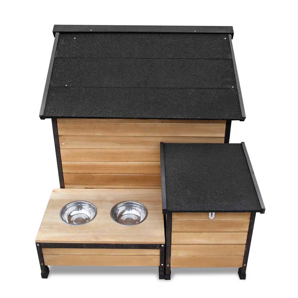 Pet Dog Kennel Timber House Extra Large Wooden Cabin Log Storage Box 2 Bowls Natural House  sc 1 st  eBay & Pet Dog Kennel Timber House Extra Large Wooden Cabin Log Storage Box ...