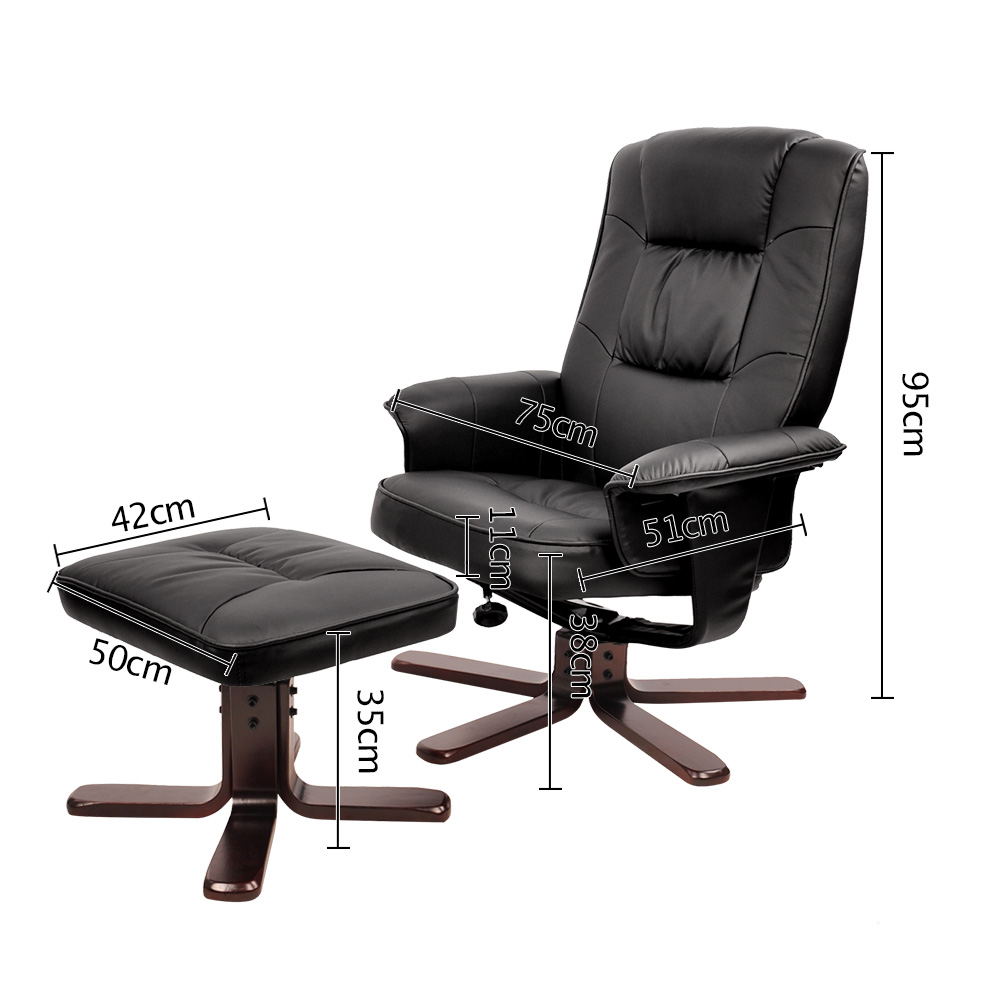 Exceptional PU Leather Swivel Arm Lounge Chair Recliner Ottoman Office Armchair Couch  Black Covers Surefit