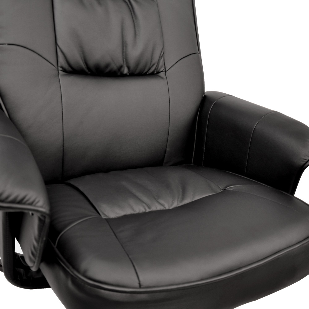 PU Leather Swivel Arm Lounge Chair Recliner Ottoman Office Armchair Couch  Black Corner Foot Storage