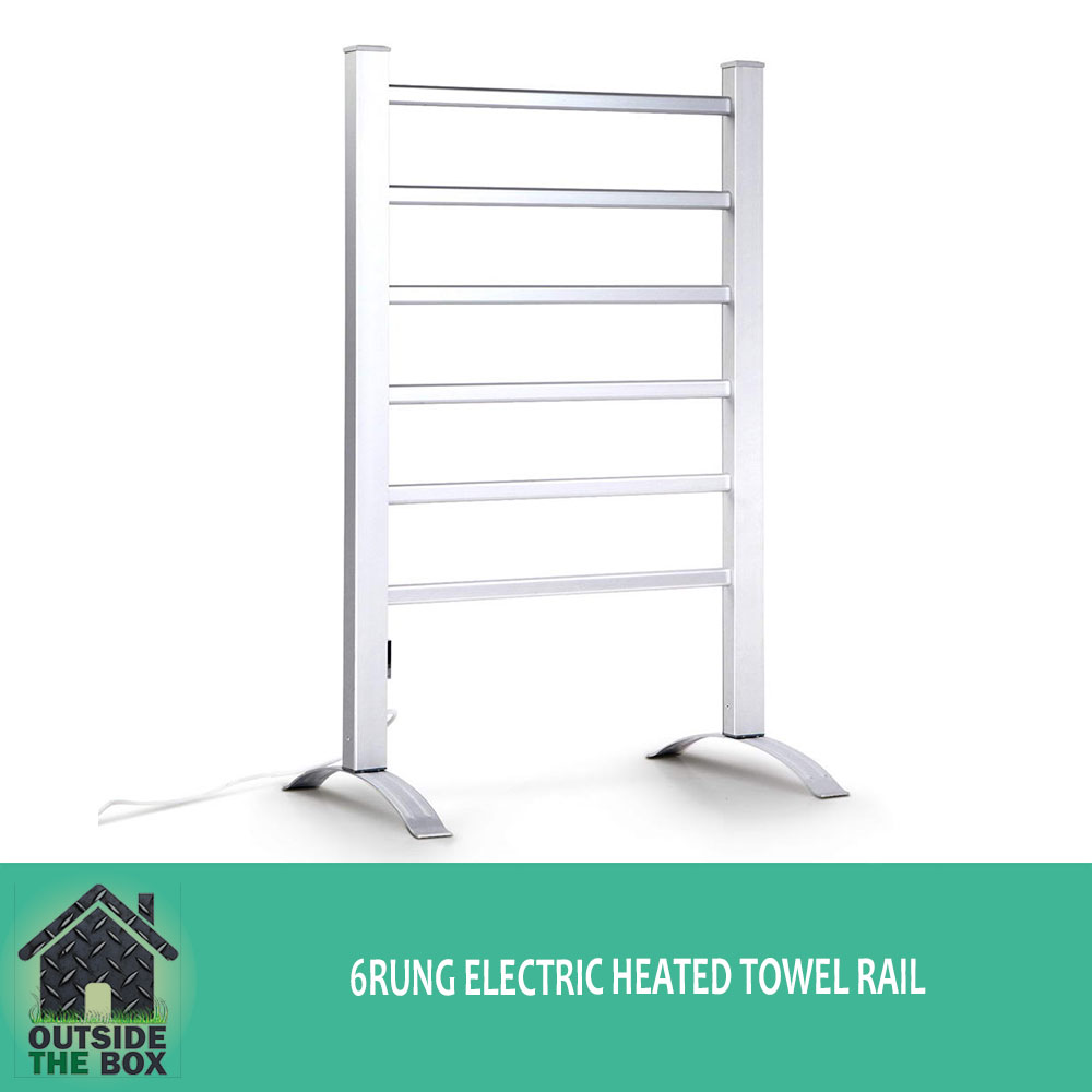 Aluminum 6 rung electric heated winter warm towel rail bathroom free standing ebay for Electric heated towel rails for bathrooms