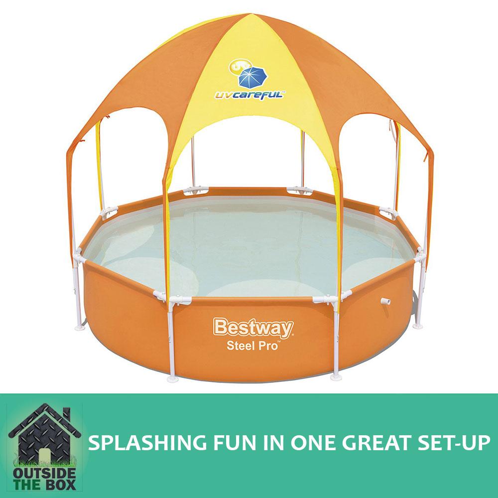 Bestway Above Ground Childrens Play Pool Steel Frame Yellow Sun Shade Mist Head  sc 1 st  eBay & Bestway Above Ground Childrens Play Pool Steel Frame Yellow Sun ...