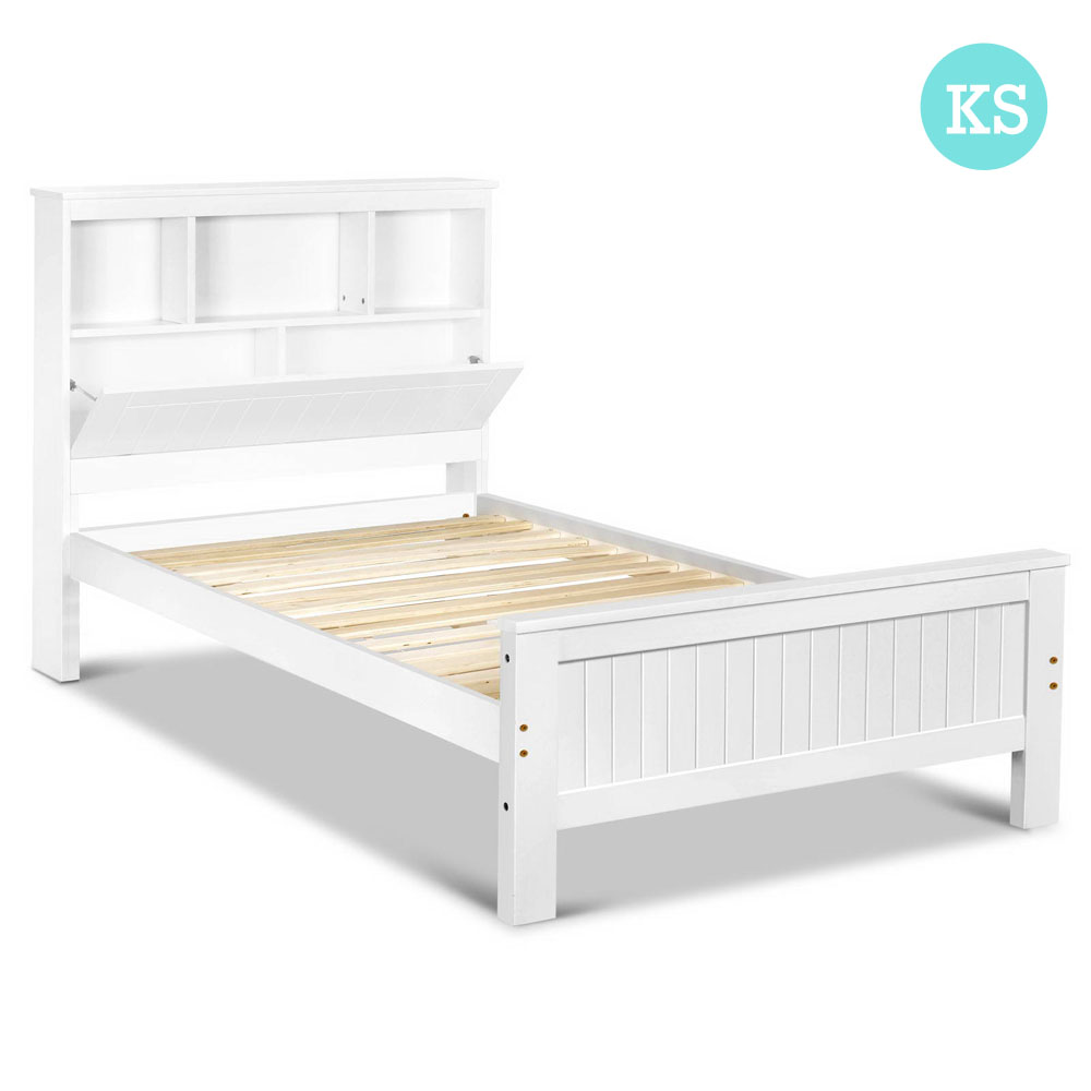 King Single Belmore Wooden Bed frame with Storage Shelf Heavy duty ...