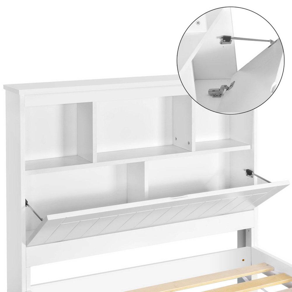 White bed frame with storage - King Single Belmore Wooden Bed Frame With Storage Shelf Heavy Duty White Sleep Timber Pine Furniture