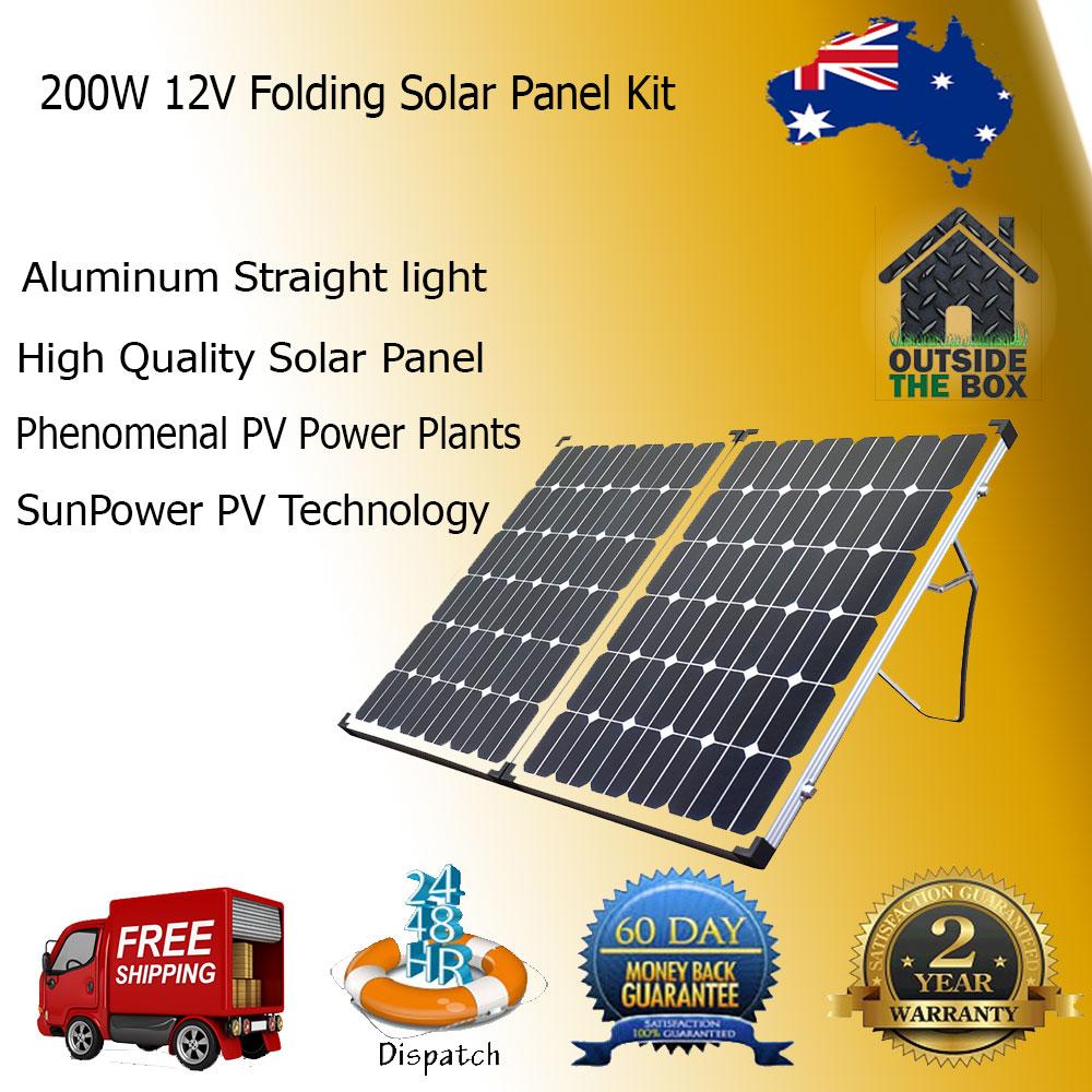 folding solar panel kit 12v 200w caravan battery camping. Black Bedroom Furniture Sets. Home Design Ideas